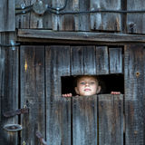 Little girl looks out of the shed through a small window. Summer. Stock Photos