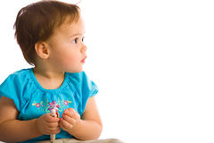 Little Girl Looks to the right side. Little amazing Girl Looks to the right side Royalty Free Stock Images