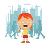 Little girl lost in city crying in front of a crowd of people passing by. Little girl lost in the city crying in front of a crowd of people passing by Stock Photography