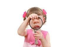 Little Girl With a Loupe Stock Photo