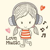 Little Girl Love Music. A Cute Cartoon Little Girl Listen To Music stock illustration
