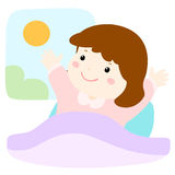 Little girl love waking up early  illustration Royalty Free Stock Images