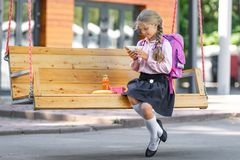Little girl with lunch royalty free stock images