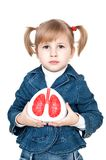 Little girl with lungs. In hand royalty free stock images