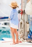 Little girl at luxury yacht Royalty Free Stock Image