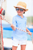 Little girl at luxury yacht Stock Photography