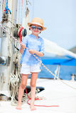Little girl at luxury yacht Royalty Free Stock Photos