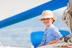 Little girl at luxury yacht Stock Photo