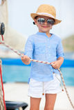 Little girl at luxury yacht Royalty Free Stock Photography