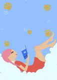 Little girl lying on the cloud and reading a book Royalty Free Stock Image