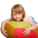 Little girl lying on the pillow. Isolated on white Stock Images