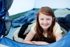 Little Girl Lying In Tent Stock Photo
