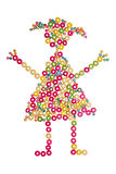 Little girl made of wooden beads Royalty Free Stock Photos