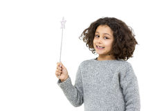 Little girl with magic wand Royalty Free Stock Images