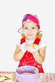 Little girl make croissant Stock Photo