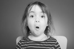 Little girl makes Grimace Royalty Free Stock Photo