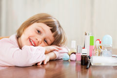 Little  girl  with makeup Stock Photo