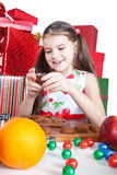 Little girl making Christmas cookies Stock Image