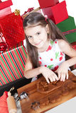 Little girl making Christmas cookies Royalty Free Stock Images