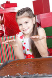 Little girl making Christmas cookies Royalty Free Stock Photo
