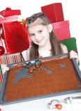 Little girl making Christmas cookies Stock Photography