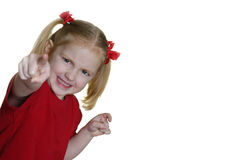 Little Girl Making Faces II 5. Little girl dressed in red making faces expressions Royalty Free Stock Photos