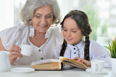 Little girl making homework with granny Royalty Free Stock Images