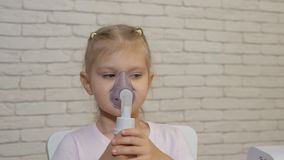 Little Girl Making Inhalation in Inhalation Mask. stock video