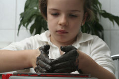 Little girl making pottery Royalty Free Stock Images
