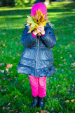 Little girl with maple leaves covering her face in park Stock Photography