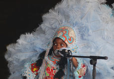 Little Girl Mardi Gras Indian Singing Stock Photography