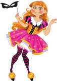 Little girl in masquerade suit Stock Images