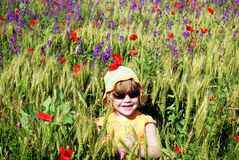 Little girl on the meadow royalty free stock photos