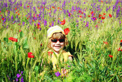 Little girl on the meadow Royalty Free Stock Images