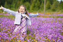 Little girl in meadow Stock Photo