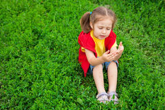 Little girl in meadow Royalty Free Stock Image