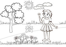 Little girl in the meadow - Colouring book Stock Photo