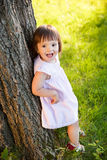 Little girl on the meadow in summer day Royalty Free Stock Photos