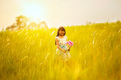 Little girl on meadow with sunset Royalty Free Stock Photo