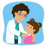 Little girl on medical check up with male pediatrician doctor c. Little girl on medical check up with male pediatrician doctor. Vector illustration in a flat Stock Photo