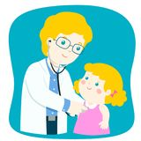 Little girl on medical check up with male pediatrician doctor. Vector illustration in a flat style Stock Images