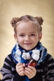 Little girl with medical syrup Stock Photos