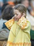 Little girl in medieval dress Stock Photos