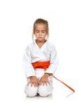 Little girl meditating Royalty Free Stock Photos