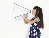 Little Girl Megaphone Positive Shoot. Portrait Stock Images