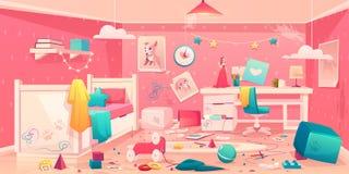 Little Girl Messy Bedroom Cartoon Vector Interior Royalty Free Stock Photography