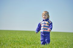 Little girl middle of green field Stock Photos