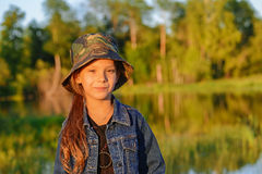 Little girl in military cap Royalty Free Stock Image