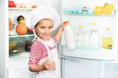 Little girl  with milk Royalty Free Stock Photo