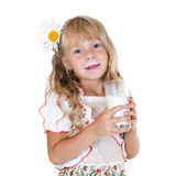 Little girl with milk mustache. After drinking milk isolated on white background royalty free stock photo